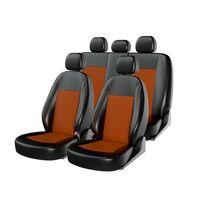Чехлы на автомобильные сиденья ATOM LEATHER комплект, экокожа, чёрный, оранжевый, оранжевый
