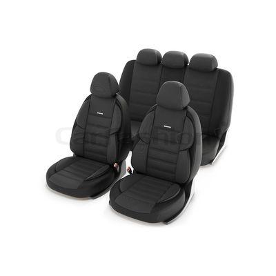 Чехлы на автомобильные сиденья GROSS комплект, трикотаж, тёмно-серый, чёрный, чёрный
