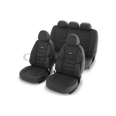 Чехлы на автомобильные сиденья GROSS комплект, трикотаж, тёмно-серый, тёмно-серый, чёрный