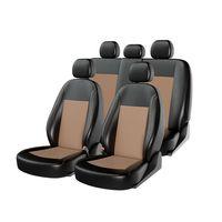 Чехлы на автомобильные сиденья ATOM LEATHER комплект, экокожа, чёрный, бежевый, бежевый