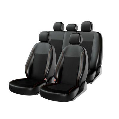 Чехлы на автомобильные сиденья ATOM LEATHER комплект, экокожа, чёрный, чёрный, оранжевый