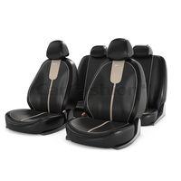 Чехлы на автомобильные сиденья GALS комплект, экокожа, бежевый, чёрный, бежевый
