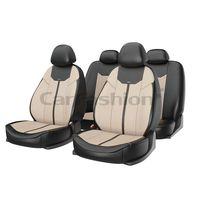 Чехлы на автомобильные сиденья MUSTANG комплект, экокожа, бежевый, чёрный, бежевый