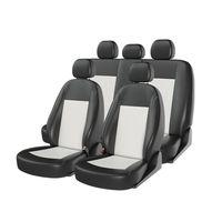 Чехлы на автомобильные сиденья ATOM LEATHER комплект, экокожа, чёрный, белый, белый