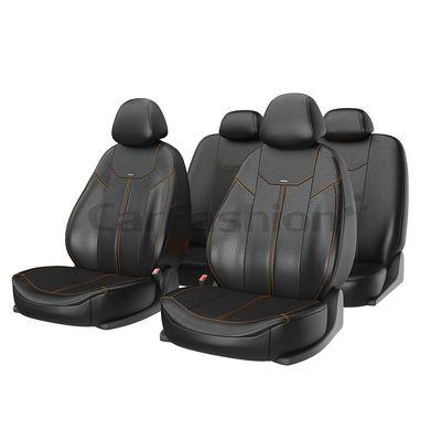 Чехлы на автомобильные сиденья MUSTANG комплект, экокожа, чёрный, чёрный, светло-коричневый (оранжевый)
