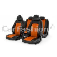 Чехлы на автомобильные сиденья RANGER комплект, экокожа, чёрный, оранжевый, оранжевый