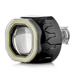"""Биксеноновая линза ClearLight, 2.5 дюйма, в фару с Н4/Н7, под лампу H1, LED """"Ангельский глаз"""", черный с квадратной блендой"""