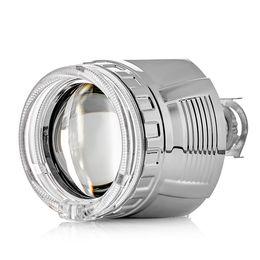 """Биксеноновая линза ClearLight, 2.5 дюйма, в фару с Н4/Н7, под лампу H1, """"Ангельский глаз"""", с квадратной блендой"""