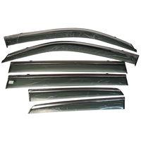 Дефлекторы окон для TOYOTA LAND CRUISER PRADO 150 2009-, LEXUS GX 460, ветровики накладные, с хромированным молдингом из нержавейки, 6 частей