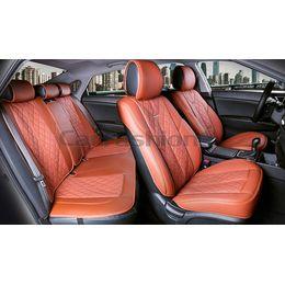 Каркасные накидки 3D на сиденья автомобиля BALATON PLUS комплект, экокожа, коричневый