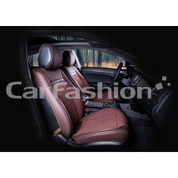 Каркасные накидки 3D на сиденья автомобиля ARSENAL передние, экокожа/твид, кофе