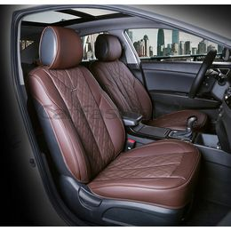 Каркасные накидки 3D на сиденья автомобиля BALATON передние, экокожа, кофе