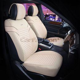 Каркасные накидки 3D на сиденья автомобиля CHESTER передние, экокожа, бежевый, бежевый, коричневый, коричневый