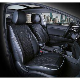 Каркасные накидки 3D на сиденья автомобиля BALATON передние, экокожа, серый, чёрный, чёрный