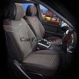 Каркасные накидки 3D на сиденья автомобиля CHESTER передние, экокожа, коричневый, коричневый, бежевый, бежевый