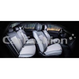 Каркасные накидки 3D на сиденья автомобиля ARSENAL PLUS комплект, экокожа/твид, серый