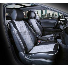 Каркасные накидки 3D на сиденья автомобиля BALATON передние, экокожа, серый, серый, чёрный