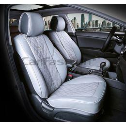Каркасные накидки 3D на сиденья автомобиля BALATON передние, экокожа, серый