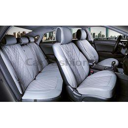 Каркасные накидки 3D на сиденья автомобиля BALATON PLUS комплект, экокожа, серый