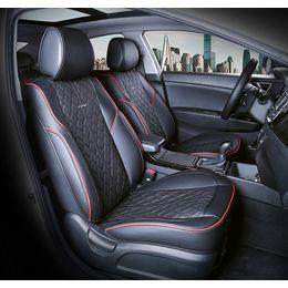 Каркасные накидки 3D на сиденья автомобиля BALATON передние, экокожа, красный, чёрный, чёрный