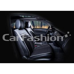 Каркасные накидки 3D на сиденья автомобиля ARSENAL передние, экокожа/твид, серый, чёрный