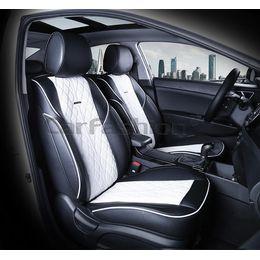 Каркасные накидки 3D на сиденья автомобиля BALATON передние, экокожа, белый, белый, чёрный
