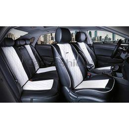 Каркасные накидки 3D на сиденья автомобиля BALATON PLUS комплект, экокожа, белый, белый, чёрный