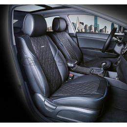 Каркасные накидки 3D на сиденья автомобиля BALATON передние, экокожа, синий, чёрный, чёрный