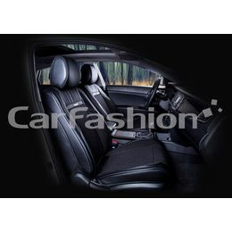 Каркасные накидки 3D на сиденья автомобиля ARSENAL передние, экокожа/твид, чёрный