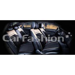 Каркасные накидки 3D на сиденья автомобиля ARSENAL PLUS комплект, экокожа/твид, бежевый, чёрный