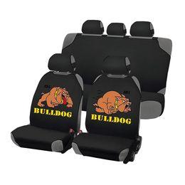 Накидки на сиденья автомобиля CARTOON BULLDOG PLUS комплект, трикотаж, чёрный