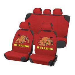 Накидки на сиденья автомобиля CARTOON BULLDOG PLUS комплект, трикотаж, красный