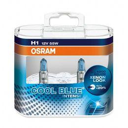 H1 лампы 12V-55W (P14,5s) Osram Cool Blue Intense DuoBox (белый яркий свет-голуб.оттен.) 64150CBI-HCB