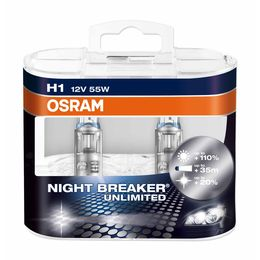 H1 лампы 12V-55W (P14,5s) Osram Night Breaker Unlimited DuoBox (+110% света) 64150NBU-HCB