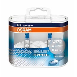 H1 лампы 12V-55W (P14,5s) Osram Cool Blue Hyper DuoBox (бело-голубоват. свет) 62150CBH-HCB