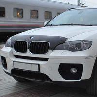 Дефлектор капота на BMW X5 2007-2013, E70, X6 2008-, E71 без обл. радиатора с вырезом для эмблемы
