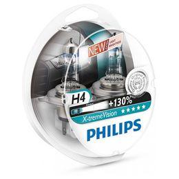 Галогеновые лампы H4 PHILIPS X-treme Vision 12V-60/55W (P43t) 12342XV+S2