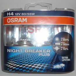 12V Н4 60/55w+90%(P43t-38) ресурс+50% NIGHT BREAKER PLUS OSRAM