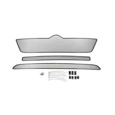 Защитная сетка радиатора в бампер для CITROEN JUMPER IV 2014-, комплект 3 части, чёрная, длина ячейки 10 мм