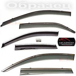 Дефлекторы окон Kia Rio III 2011- седан с хромированным молдингом нержавейка, ветровики накладные