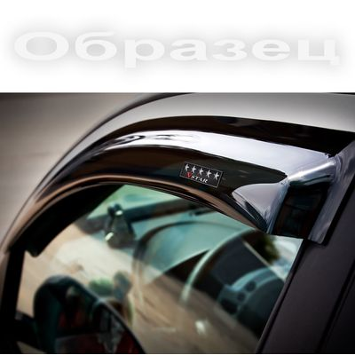Дефлекторы окон для Lexus LS460 2006- Lond, 600h 2006- Long с хромированным молдингом, ветровики накладные