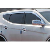 Дефлекторы окон (Ветровики) для Hyundai Santa Fe III (2012-) из 6 частей хромированные, накладные