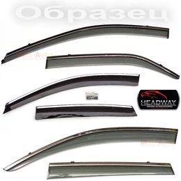 Дефлекторы окон Mazda CX-5 2012- с хромированным молдингом нержавейка, ветровики накладные