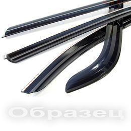Дефлекторы окон (Ветровики) для HYUNDAI SOLARIS хэтчбек 2011- хромированный пластик Auto Clover накладные