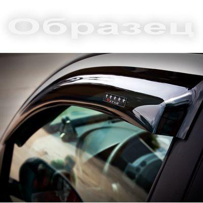Дефлекторы окон для Mercedes-Benz S-Class 2005-2013, кузов W221 Long с хромированным молдингом, ветровики накладные