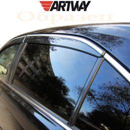 Дефлекторы окон CHERY TIGGO 5, T21 2013-, ветровики накладные, с хромированным молдингом из нержавейки