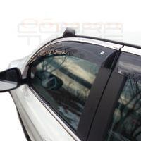 Дефлекторы окон HYUNDAI SONATA VII, LF СЕДАН 2017-, с хромированным молдингом, ветровики накладные