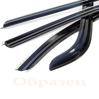 Дефлекторы окон Kia Cerato New 2009- хромированный пластик, ветровики накладные